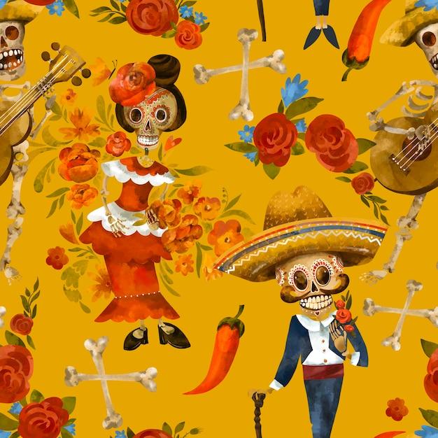 Tag des toten nahtlosen musters. zuckerschädelbeschaffenheit, cinco de mayo tapete auf gelbem hintergrund Premium Fotos