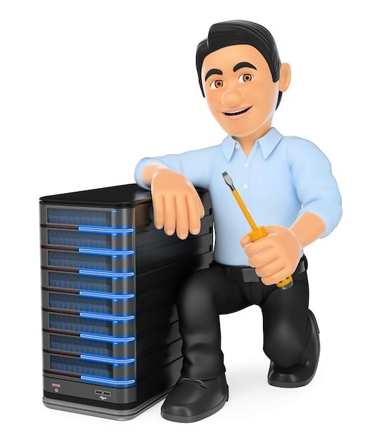 Techniker der informationstechnologie 3d mit einem server Premium Fotos