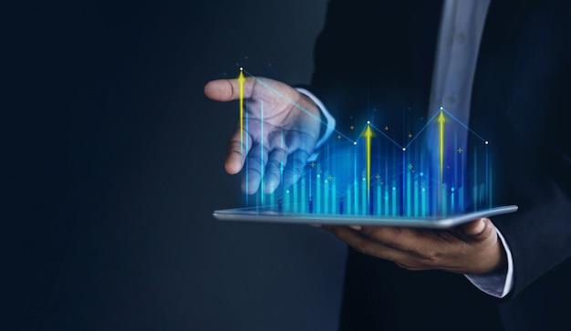 Technologie, hoher profit, börse, geschäftswachstum, strategie-planungskonzept. Premium Fotos