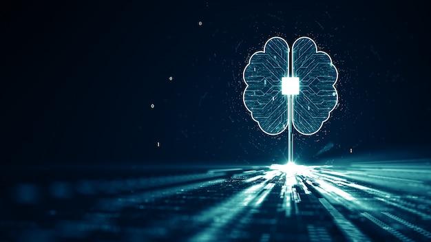 Technologie künstliche intelligenz (ki) gehirnanimation digitales datenkonzept. Premium Fotos