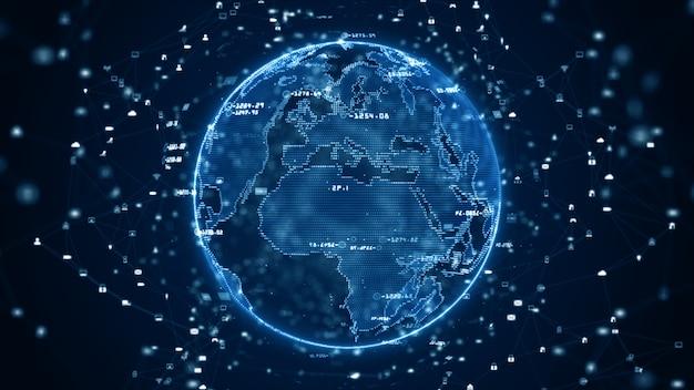 Technologie-netzwerk datenverbindung, digitales datennetz und cyber-sicherheitskonzept. erdelement von der nasa eingerichtet. Premium Fotos
