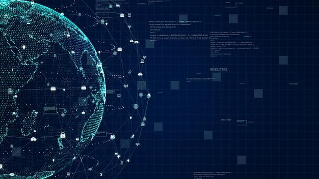 Technologie-netzwerk-datenverbindung, digitales datennetz und internetsicherheitskonzept. erdelement von der nasa eingerichtet. Premium Fotos