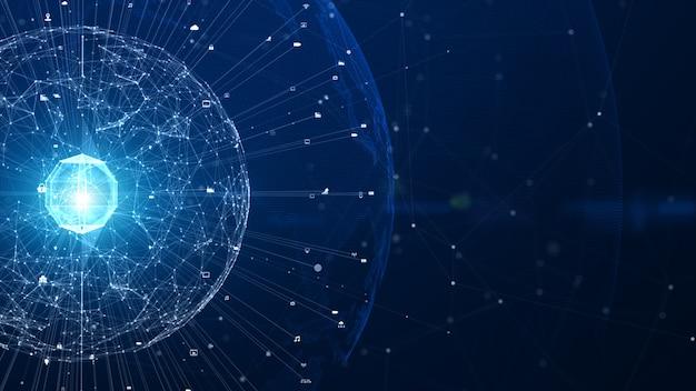 Technologie netzwerk netzwerkverbindung, digitales netzwerk und cybersicherheit hintergrundkonzept. erdelement von der nasa eingerichtet. Premium Fotos
