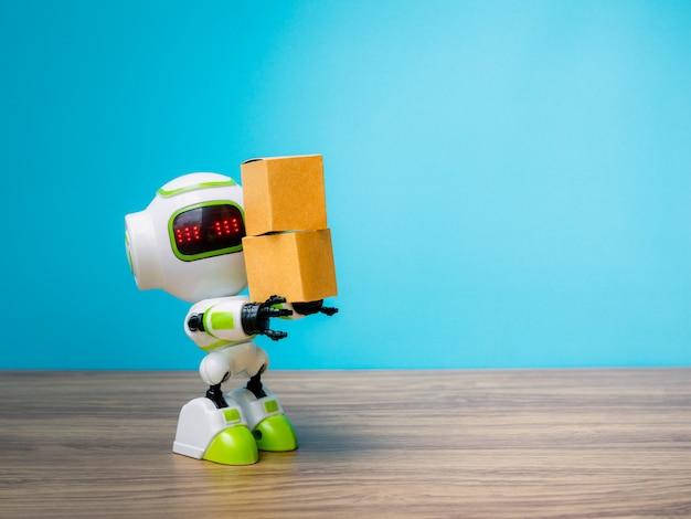 Technologieroboter, der industrie den kasten oder die roboter hält, die anstelle von menschen arbeiten Premium Fotos
