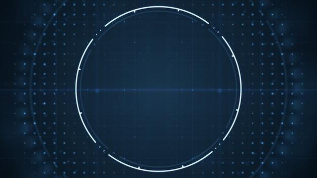 Technologische zukünftige benutzerschnittstelle hud mit spinnenden kreisen auf dunkelblauem hintergrund. Premium Fotos