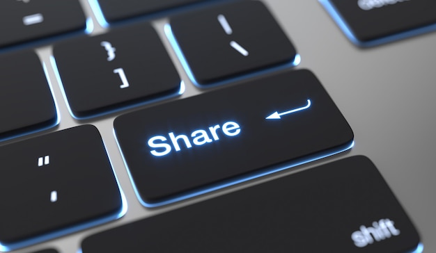Teilen sie text, der auf der tastaturtaste geschrieben ist. Premium Fotos