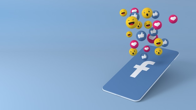 Telefon mit facebook popping up icons Premium Fotos