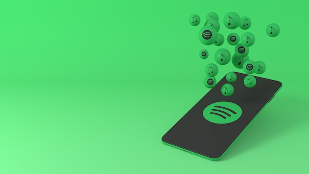 Telefon mit spotify-popup-symbolen Premium Fotos