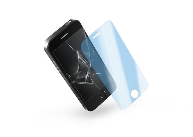 Telefonschutzglas mit defektem bildschirm. Premium Fotos