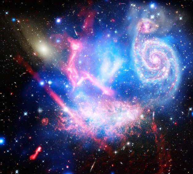 Teleskope kombinieren, um frontier auf galaxy-clustern zu verschieben Premium Fotos