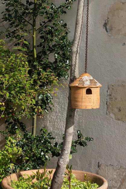 Terrakottahaus für die vogelmeisen Premium Fotos