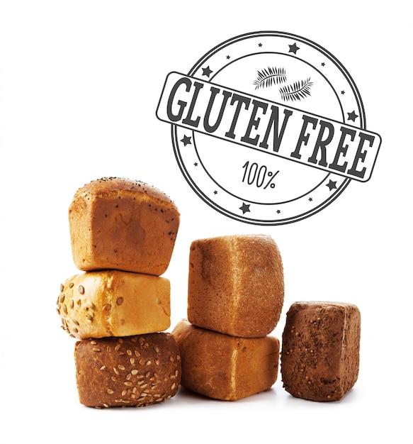 Text glutenfrei auf brot Premium Fotos