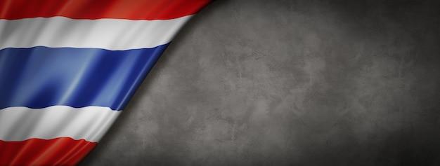 Thailändische flagge auf betonwand Premium Fotos