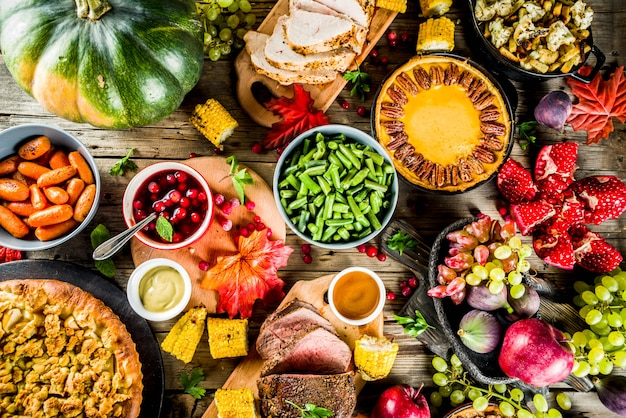 Thanksgiving-dinner-konzept Premium Fotos