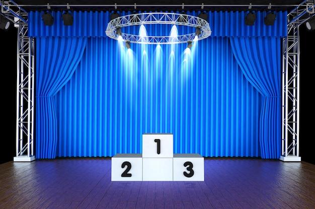 Theaterbühne und blaue vorhänge und scheinwerfer mit sportpodium Premium Fotos