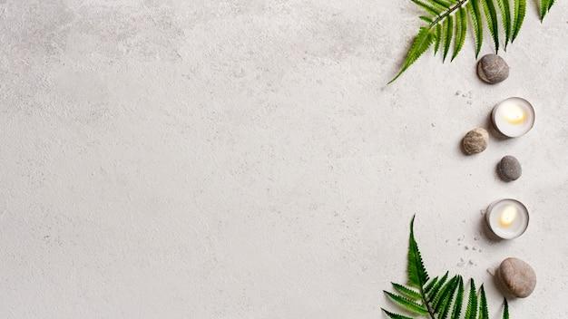 Therapeutische badekurortdekoration der draufsicht mit kopieraum Kostenlose Fotos