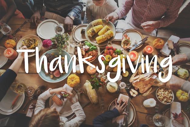 Thnaksgiving-segen, der dankbares mahlzeit-konzept feiert Kostenlose Fotos