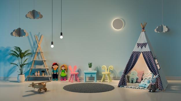 Tipi im kinderrauminnenraum nachts Premium Fotos