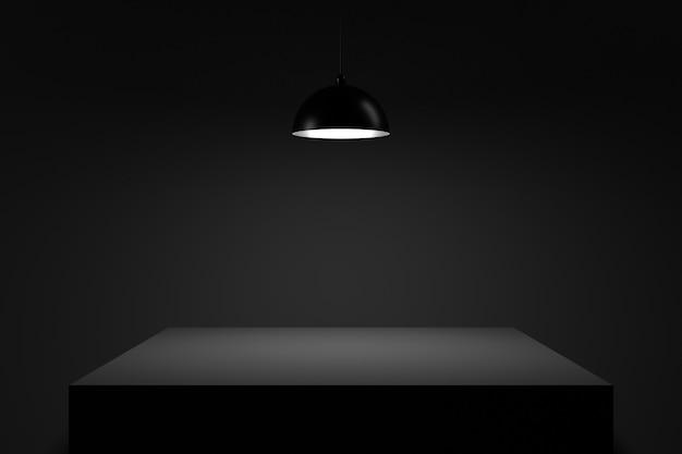 Tisch in der dunkelheit. 3d-rendering. Premium Fotos