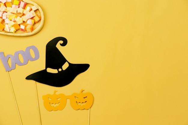 Tischplatteansichtvogelperspektive der dekoration glücklicher halloween-tageshintergrund Premium Fotos