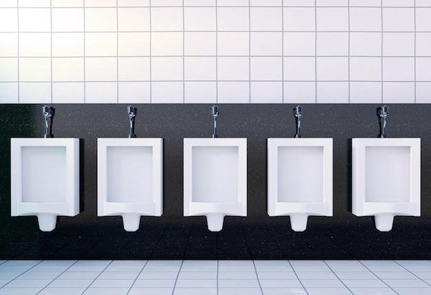 Toilettenrauminnenraum der allgemeinen männer mit weißen toiletten, wiedergabe 3d Premium Fotos