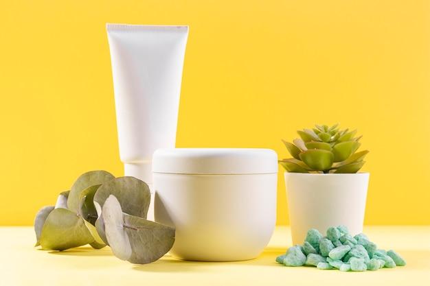 Topfpflanze mit kosmetikbehältern Kostenlose Fotos