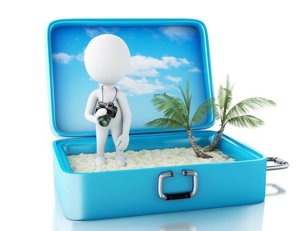 Tourist der weißen leute 3d mit kamera in einem reisekoffer. Premium Fotos