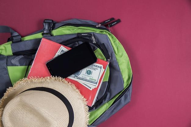 Touristische reise der draufsichttasche zusammen Kostenlose Fotos