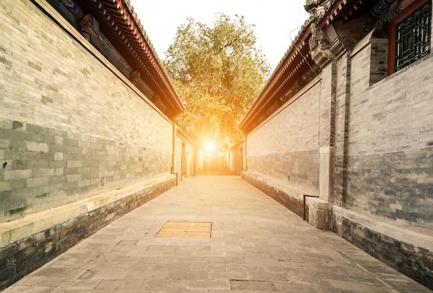 Traditionelle gasse in peking, china Premium Fotos