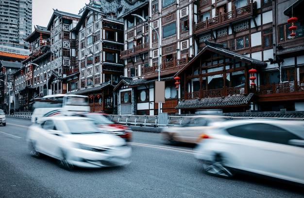 Traditionelle häuser chinas chongqing auf stelzen Premium Fotos