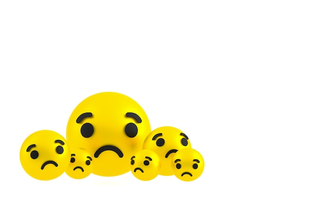 Traurige ikone facebook reaktionen emoji rendern, social media ballon symbol auf weißem hintergrund Premium Fotos