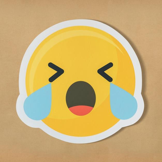 Trauriges schreiendes gesicht emoticon symbol Kostenlose Fotos