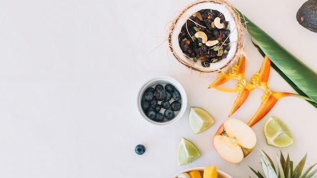 Trockene früchte in der kokosnuss mit paradiesvogel blühen auf weißem hintergrund Kostenlose Fotos