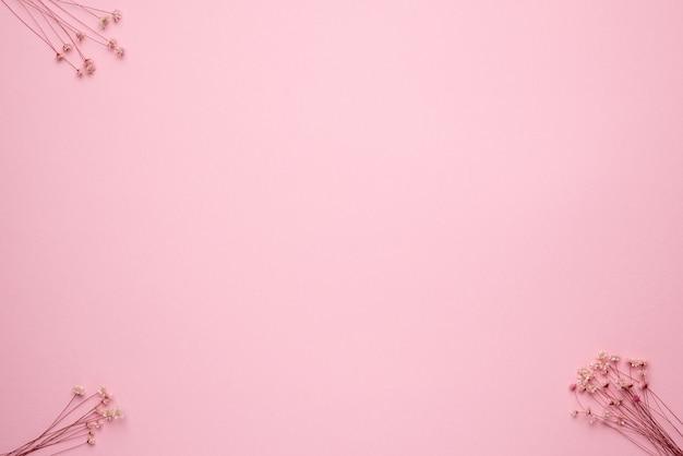 Trockener blumenzweig auf einem pastellrosa hintergrund. trend, minimal getrocknetes konzept mit copyspace-draufsicht Premium Fotos