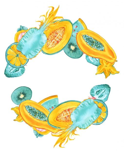 Tropische früchte runder rahmen. modische sommer-farbexotische früchte grenze auf weißem hintergrund. ananas, karambole, sternfrucht, papaya, melone kranz. blaue minze, gelber druck für einladungskarten Premium Fotos
