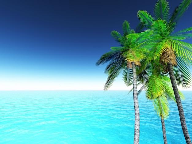 Tropische landschaft 3d mit palmen und blauem ozean Kostenlose Fotos
