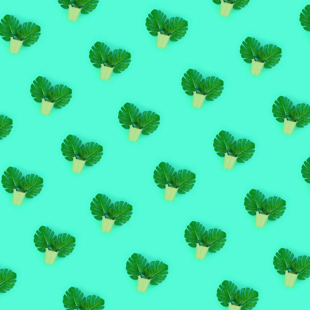Tropische palmmonsterablätter liegen in den eimern eines pastells auf grün Premium Fotos