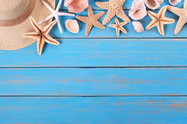 Tropische strand sommer starfish oberkante hintergrund grenze Premium Fotos