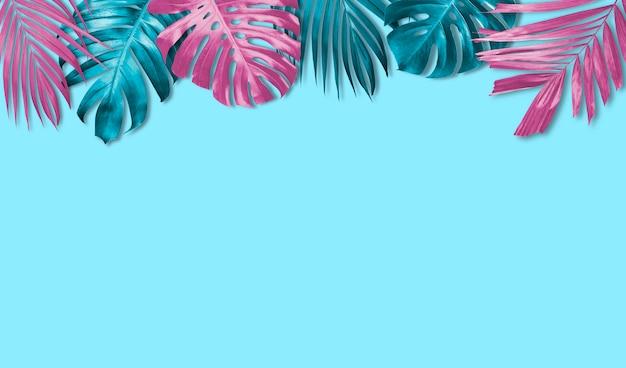 Tropischer blattfahnenhintergrund mit kopienraum Premium Fotos