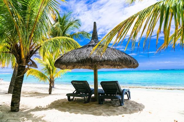 Tropischer erholsamer urlaub. weiße sandstrände von mauritius isalnd Premium Fotos
