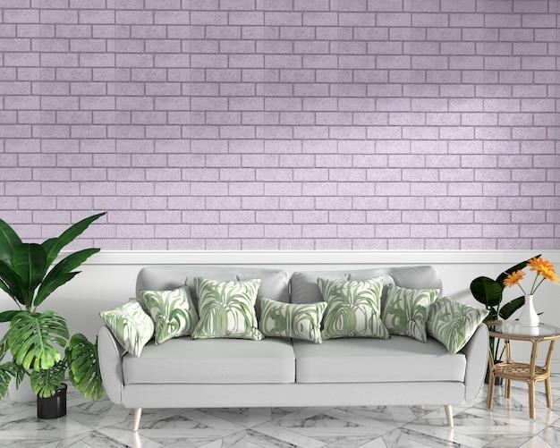 Tropischer spott oben mit sofa und dekoration und rosa backsteinmauer auf granitboden Premium Fotos