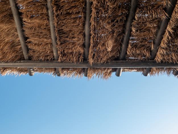 Tropisches kokosnusspalme-blattpavillondach mit blauem himmel. Premium Fotos
