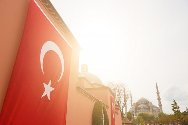 Türkische flagge mit der blauen moschee in istanbul Premium Fotos