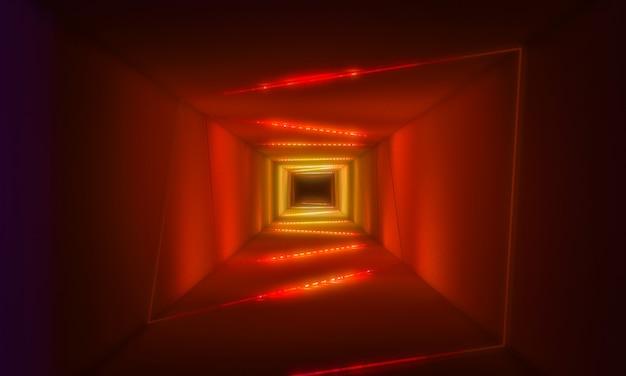 Tunnel mit neonlichthintergrund Premium Fotos