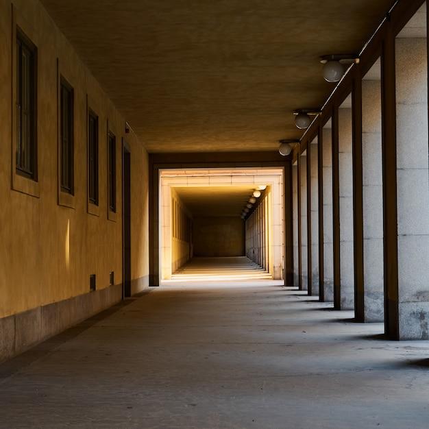 Tunnel mit schatten und lichtern. Premium Fotos