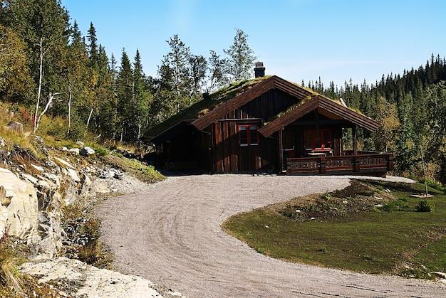 Typisch norwegisches landhaus mit atemberaubender landschaft und wunderschönem grün in norwegen Kostenlose Fotos