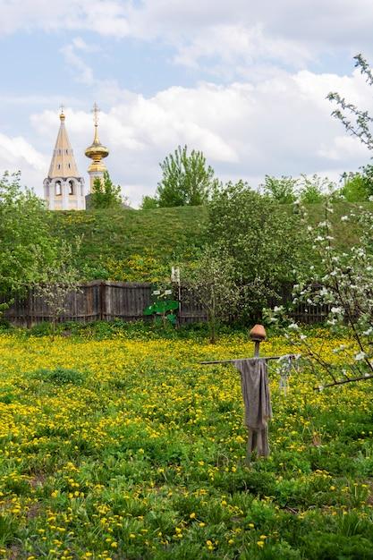Typische russische landschaft. vogelscheuche von den vögeln im garten. kirche in der ferne. susdal, russland. Premium Fotos