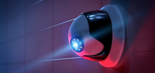 Überwachungskamerasystem - wiedergabe 3d Premium Fotos