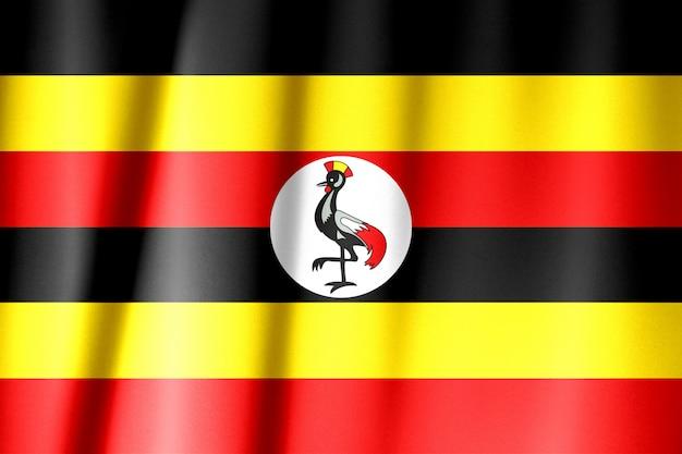 Uganda-flagge auf einem seidentuch, das winkt Premium Fotos