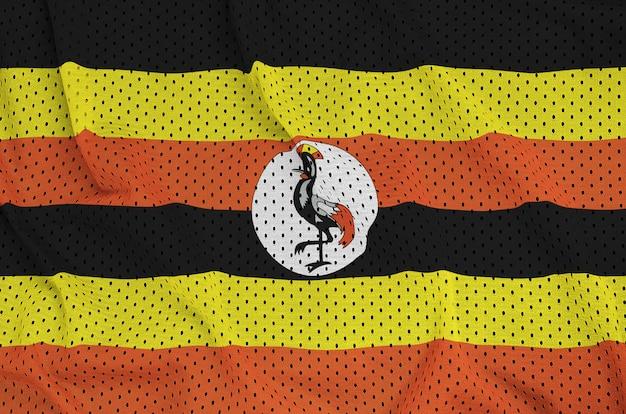 Uganda-flagge auf einem sportbekleidungsgewebe aus polyester-nylon gedruckt Premium Fotos